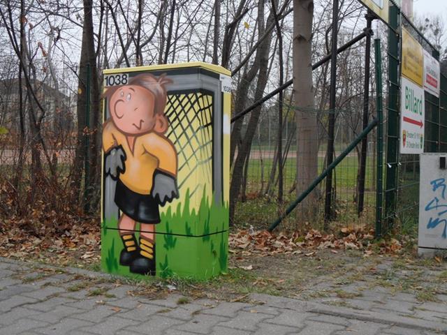 Vorderseite: Junger Fußball-Torwart