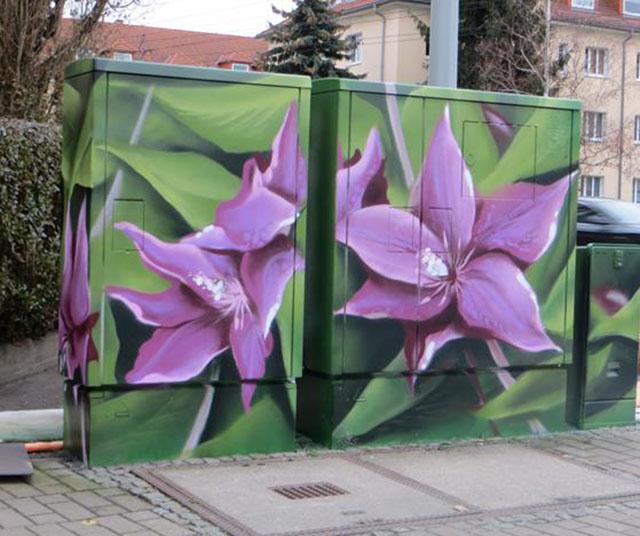 Lila Blüten auf grünem Hintergrund